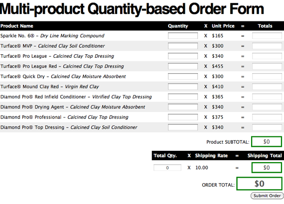 product order form