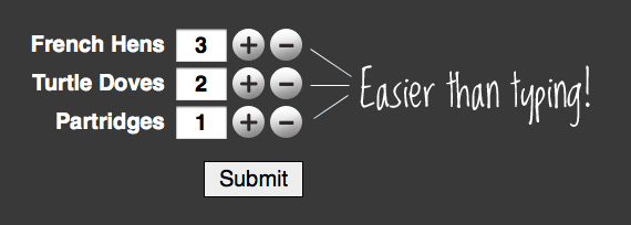 Add (+/-) Button Number Incrementers | CSS-Tricks