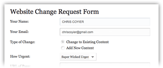 Website Change Request Form Css Tricks