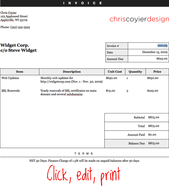 Opportunitycaus  Prepossessing Make An Editableprintable Html Invoice  Csstricks With Luxury This Of Course Cant Do Nearly All The Awesome Stuff Freshbooks Can Do But It Might Be Useful To Some Of You With Extremely Lightweight Invoicing Needs With Divine Google Docs Invoice Templates Also Subcontractor Invoice Template In Addition Ford Fusion Invoice Price And Excel Invoice Manager As Well As Construction Invoicing Software Additionally Invoices Online Free From Csstrickscom With Opportunitycaus  Luxury Make An Editableprintable Html Invoice  Csstricks With Divine This Of Course Cant Do Nearly All The Awesome Stuff Freshbooks Can Do But It Might Be Useful To Some Of You With Extremely Lightweight Invoicing Needs And Prepossessing Google Docs Invoice Templates Also Subcontractor Invoice Template In Addition Ford Fusion Invoice Price From Csstrickscom