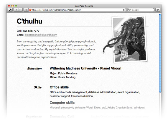 One Page Résumé Site CSSTricks - Example of resume html code