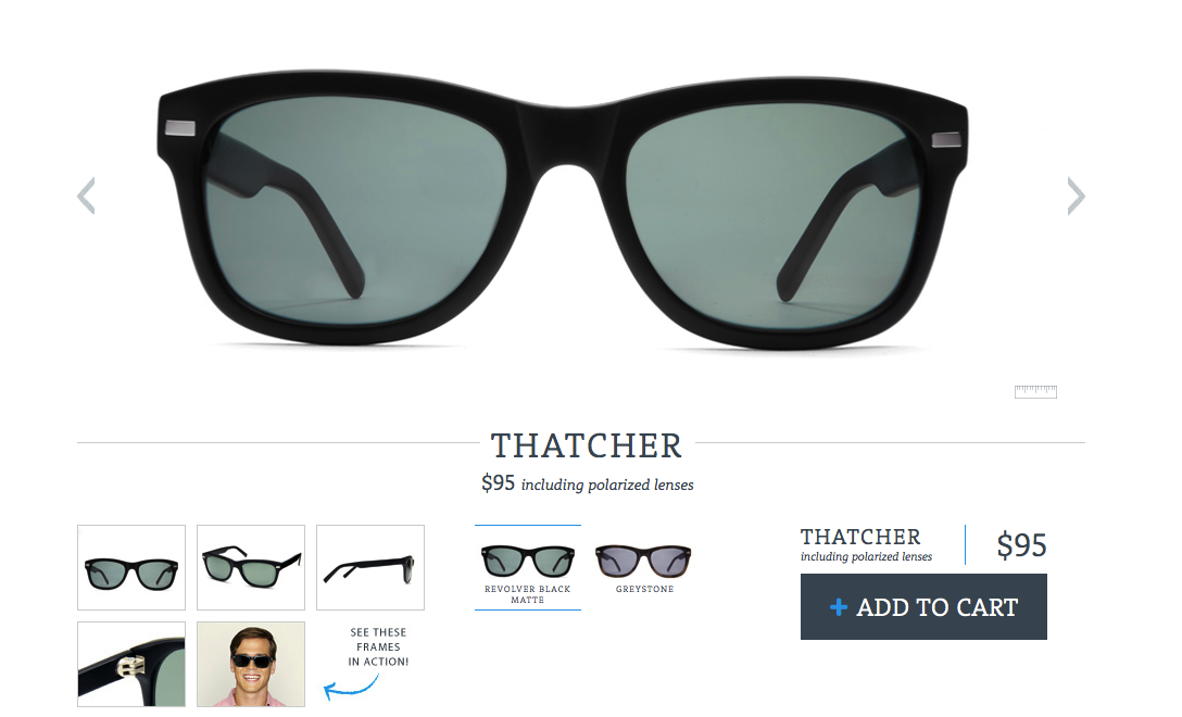 Sunglasses eCommerce Page