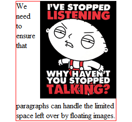 Same example as above, but with a red border around the paragraph, showing that it extends behind the  image.