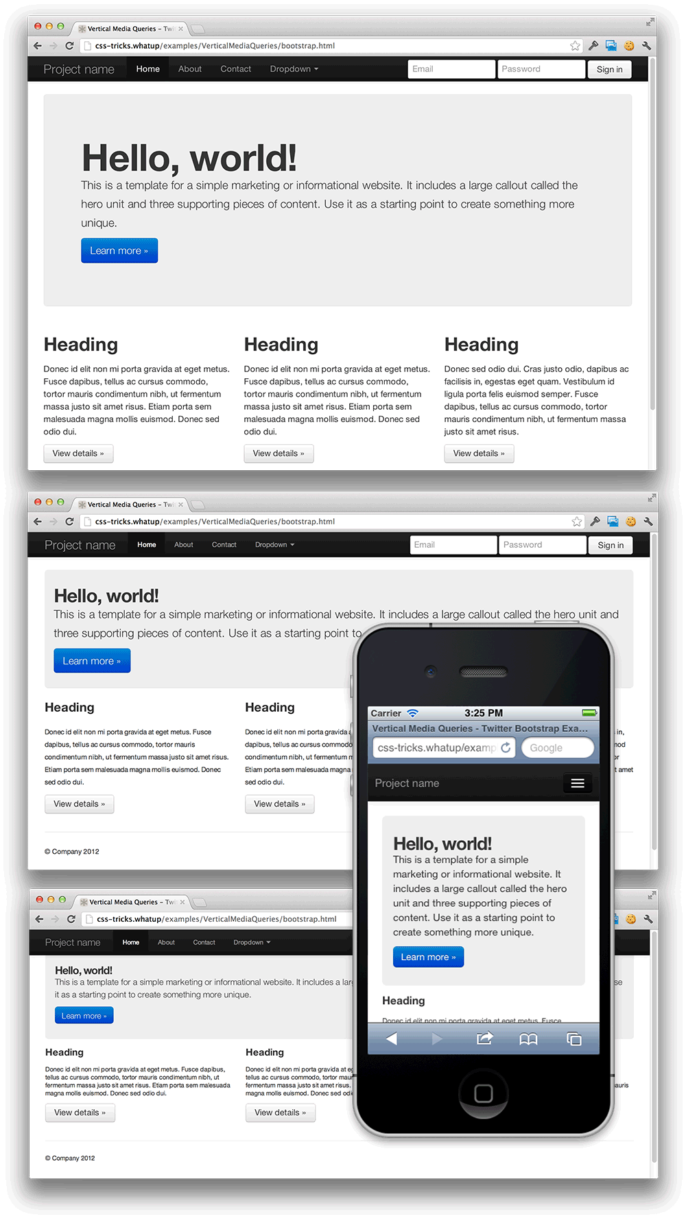 Responsive web above the fold css tricks twitter bootstrap demo falaconquin