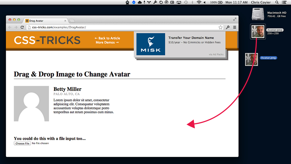 HTML5 Drag and Drop Avatar Changer with Resizing and