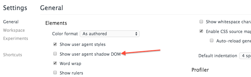 Enable Show Shadow DOM
