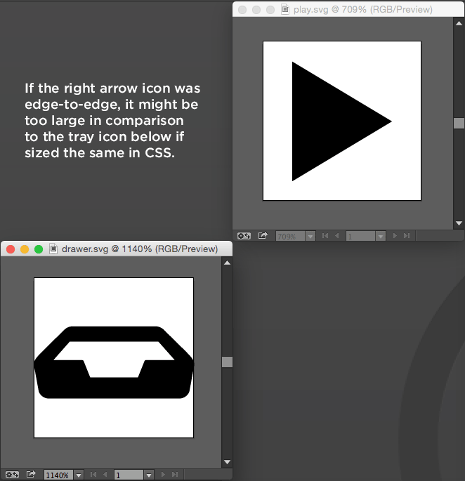 If the right arrow icon was edge-to-edge, it might be too large in comparison to the tray icon below if sized the same in CSS.