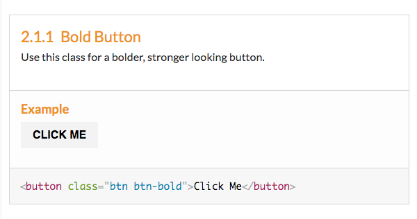 Screenshot of the generated documentation for the bold button