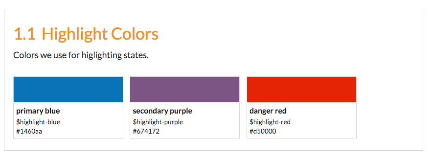 Color palette displaying primary blue, secondary purple, and danger red.
