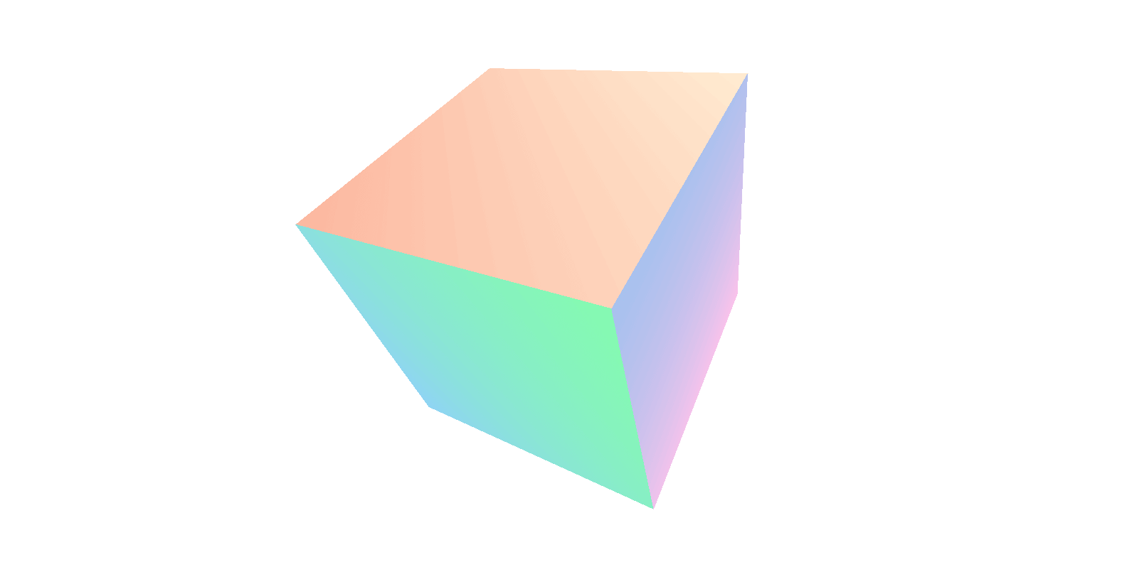 Cube rotated in 3D with a different pastel gradient background for each of its faces.