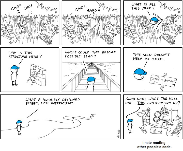 comic exploring code in real life with bad this is a bridge comment