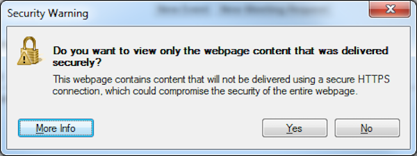 A browser pop up window of a security warning about unsecure content.
