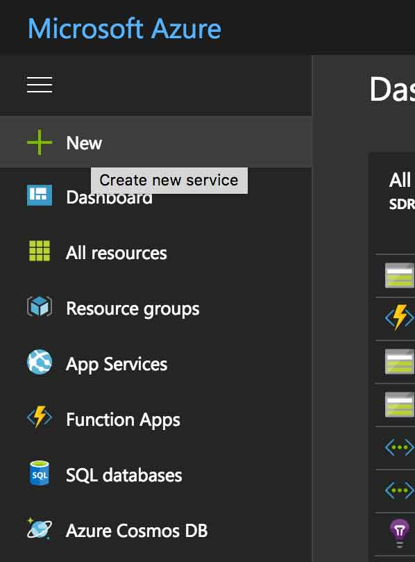Showing the sidebar in Azure where you can create a new service
