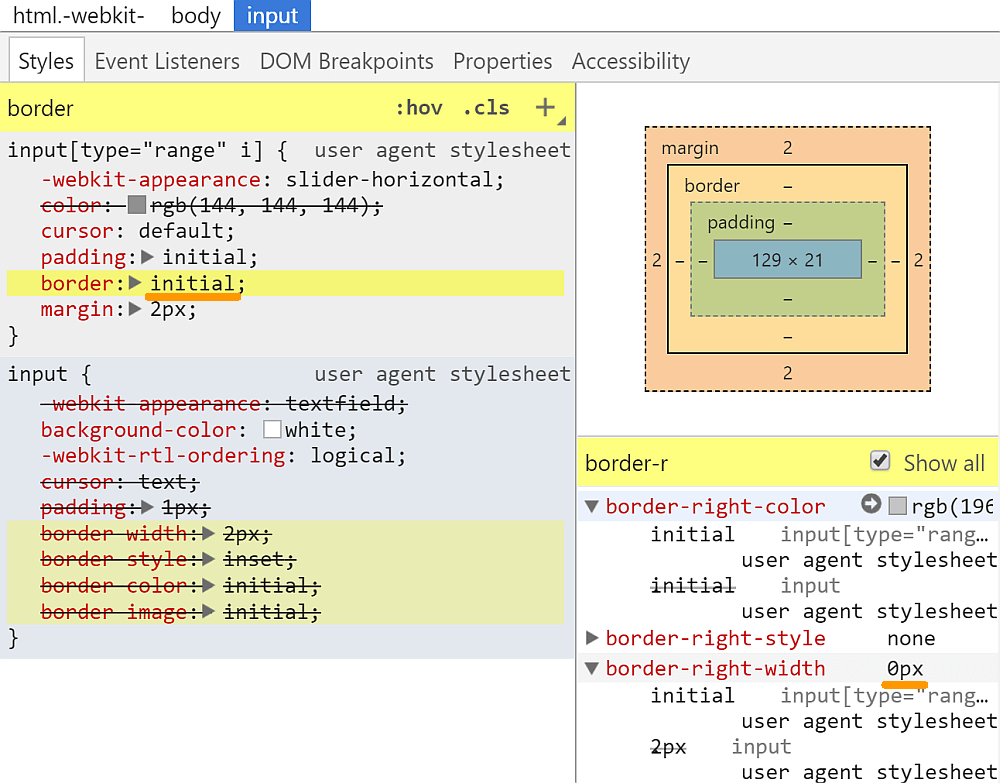 Screenshot of Chrome DevTools showing how the border for inputs is set.
