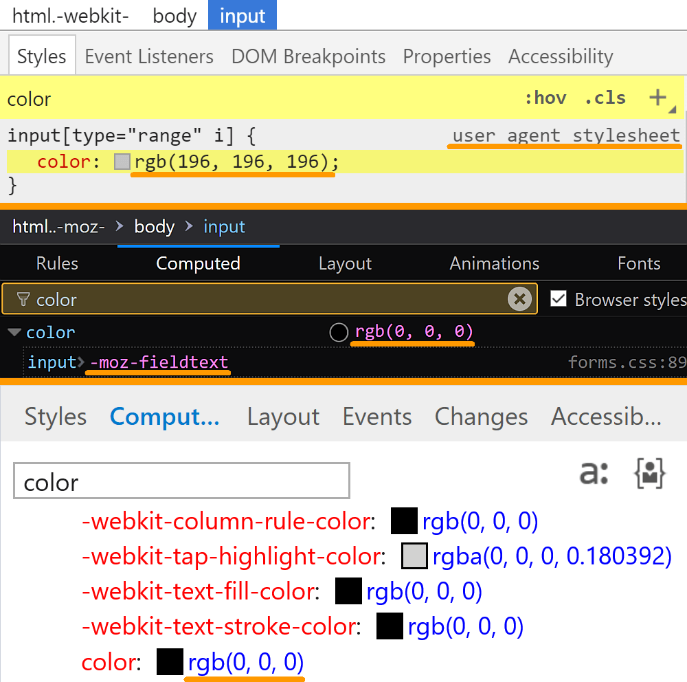 Comparative screenshots of DevTools in the three browsers showing the computed values of color for a range input.