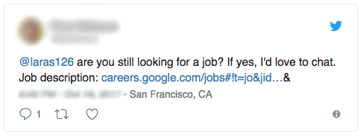 Image of tweet asking Lara if she is still looking for a job, with a link to job post at careers.google.com/jobs