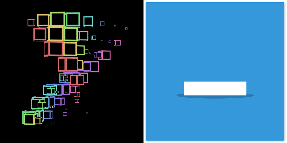 Screenshots of the two demos we dissect here. Left: a rotating wavy rainbow grid of cubes. Right: bouncing square.