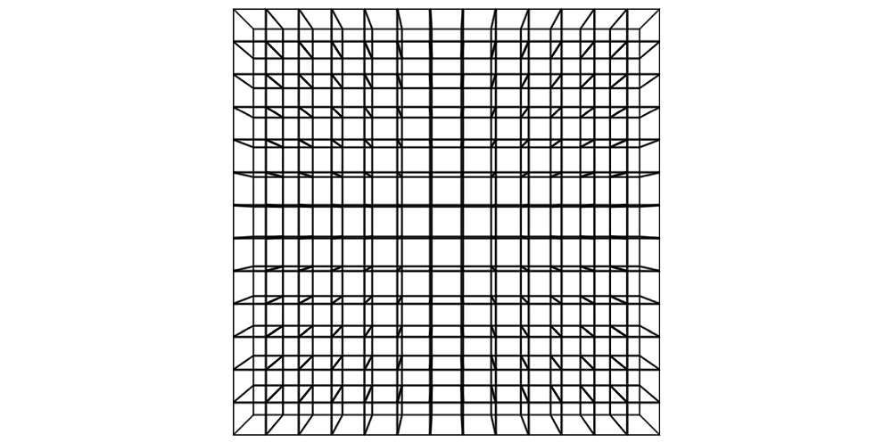 Screenshot. Shows a grid of cube wireframes right in the middle.