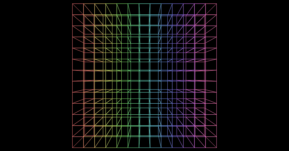 Screenshot. The assembly wireframe has now a rainbow look, with every column of cubes having a different hue.