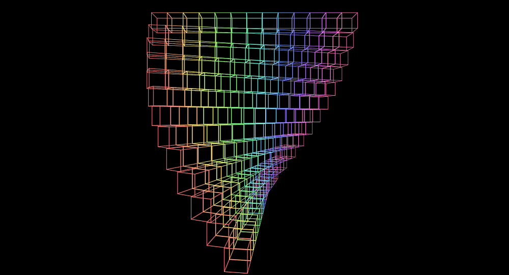 Screenshot. The assembly wireframe now appears twisted, with every row being rotated at a different angle, increasing from top to bottom.
