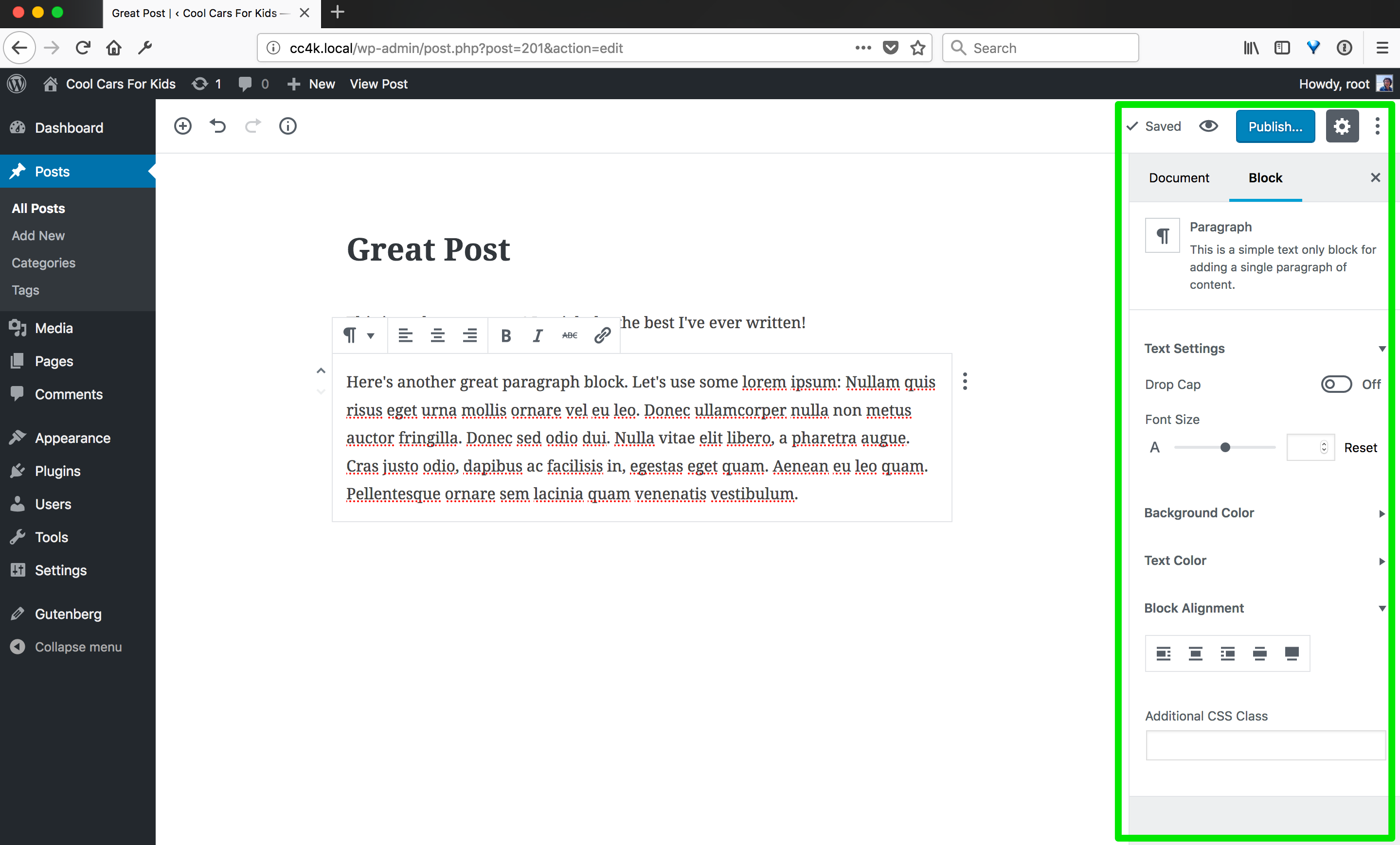 A screenshot of a blank Gutenberg post with a graphic indicating the block inspector area on the right.