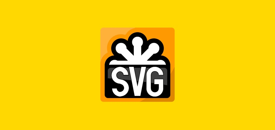 A screenshot of the official SVG logo recreated using a single element in CSS on a yellow background.