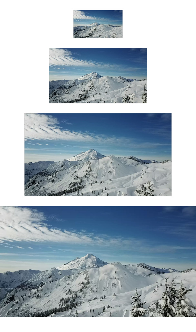 Four screenshots of the same video of a snowcapped mountain at different sizes to demonstrate different widths.