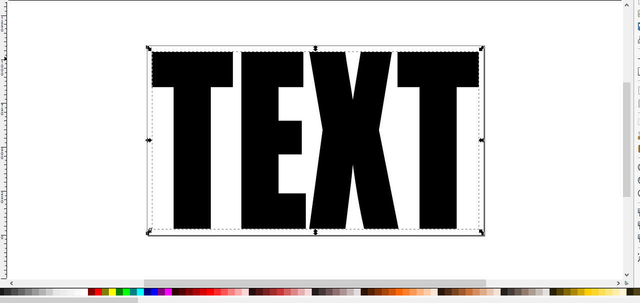 A screenshot of the word Text in all caps printed on the Inkscape canvas.