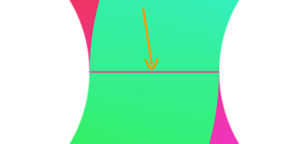 Screenshot. Shows a close-up of the intersection of the two halves. In theory, the intersection line should match the start/ end line of the conic gradients, but this isn't the case in practice, so we're still seeing a strip of red along it, even though the red side should be behind the plane of the screen and not visible.