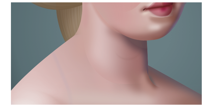 A closeup of a woman's neck that looks like a painting.