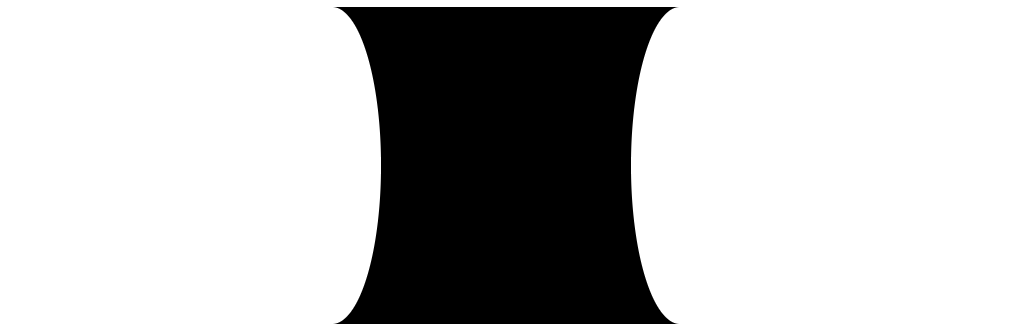 A black box that is inwardly curved on the left and right sides.
