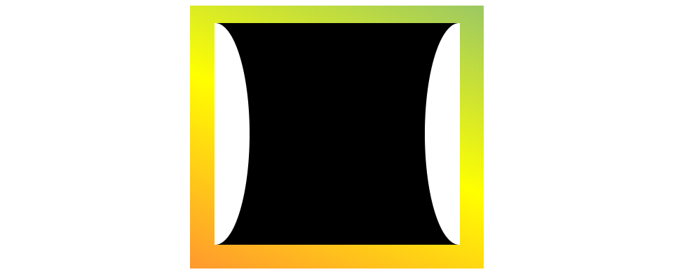 A black box that is inwardly curved on the left and right sides with a a green to yellow gradient in the background. The scooped sides are white, causing them to not blend in nicely with the gradient background.