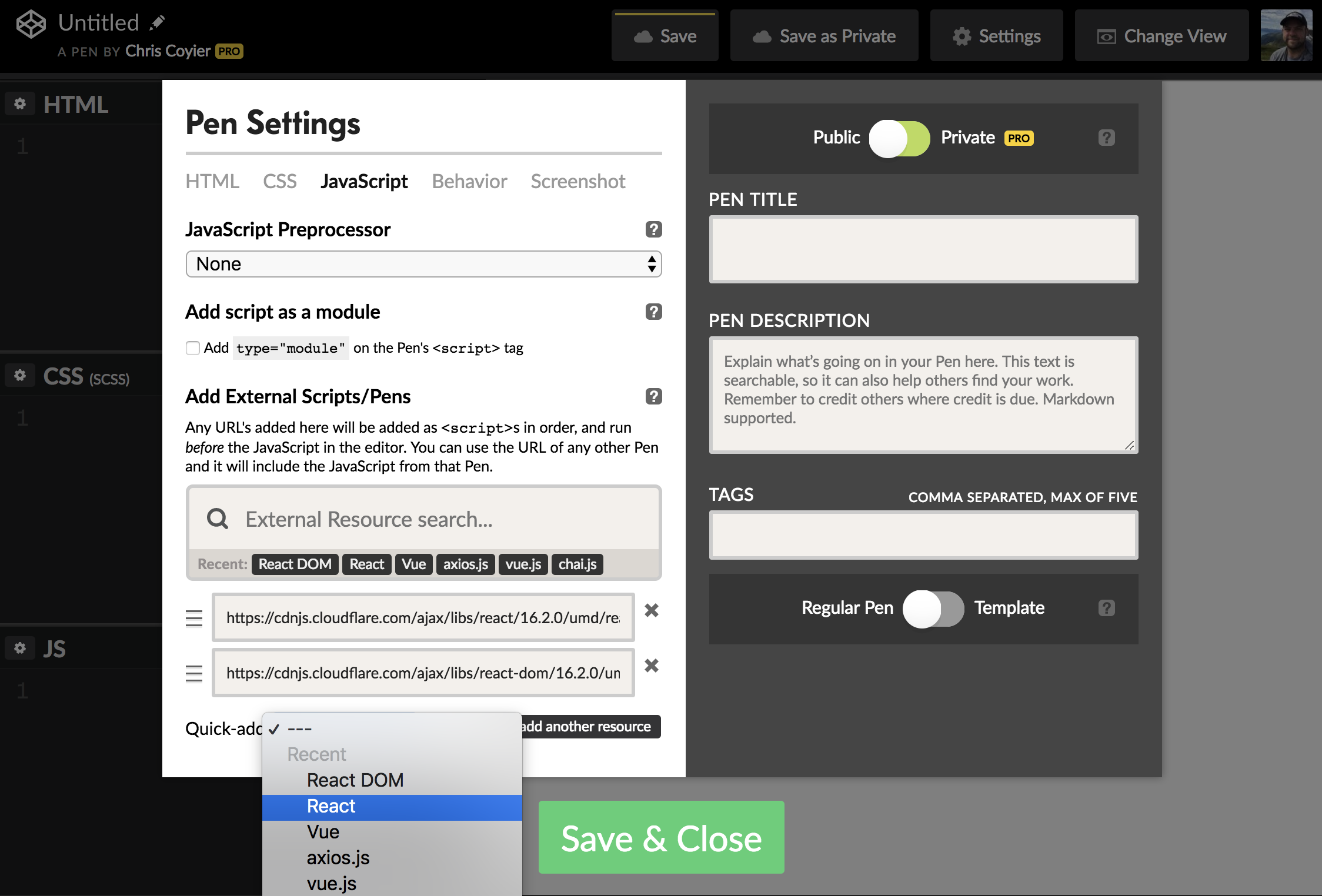 A screenshot of the CodePen interface with the JavaScript settings open. The settings are in a split pane where the settings are on the left in a white box and advanced settings are on the right in a dark gray box.