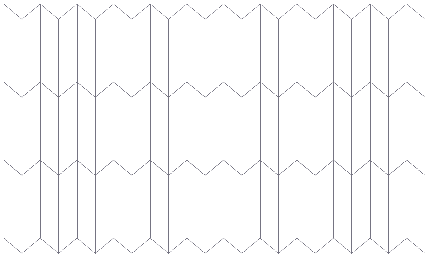 The grid layout with skewed cells so that they form repeating parallelograms instead of rectangles.
