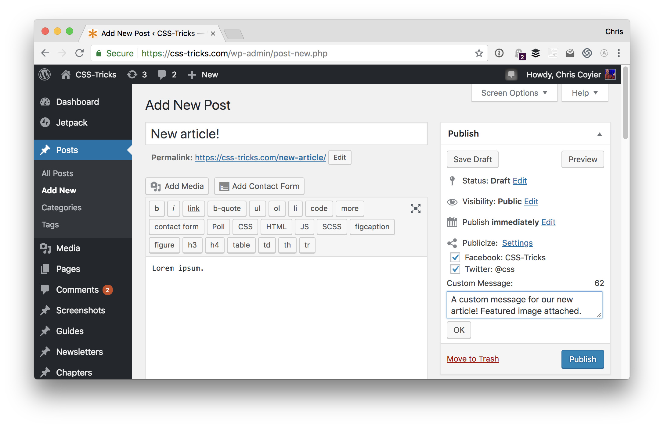 sharing-from-editor Jetpack's Social Integration Features design tips