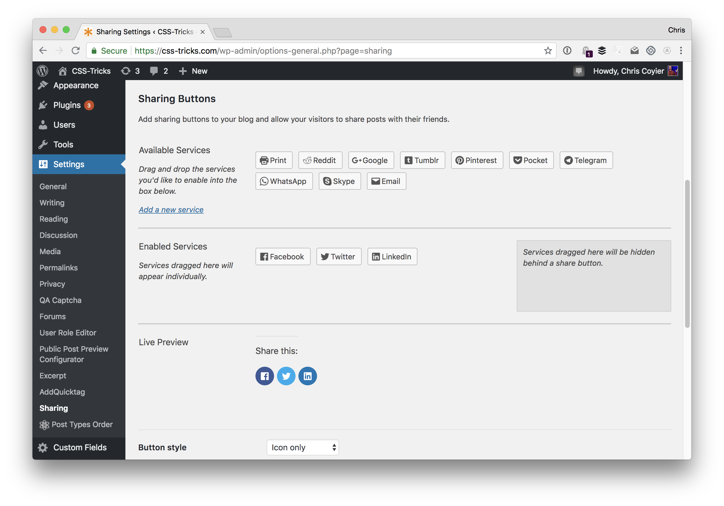 sharing-settings Jetpack's Social Integration Features design tips