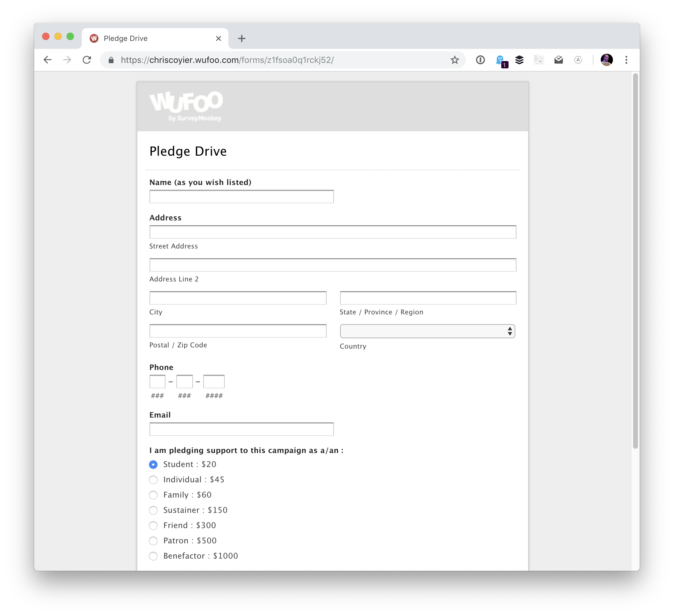wufoo-pledge Styled Payment Forms with Wufoo design tips