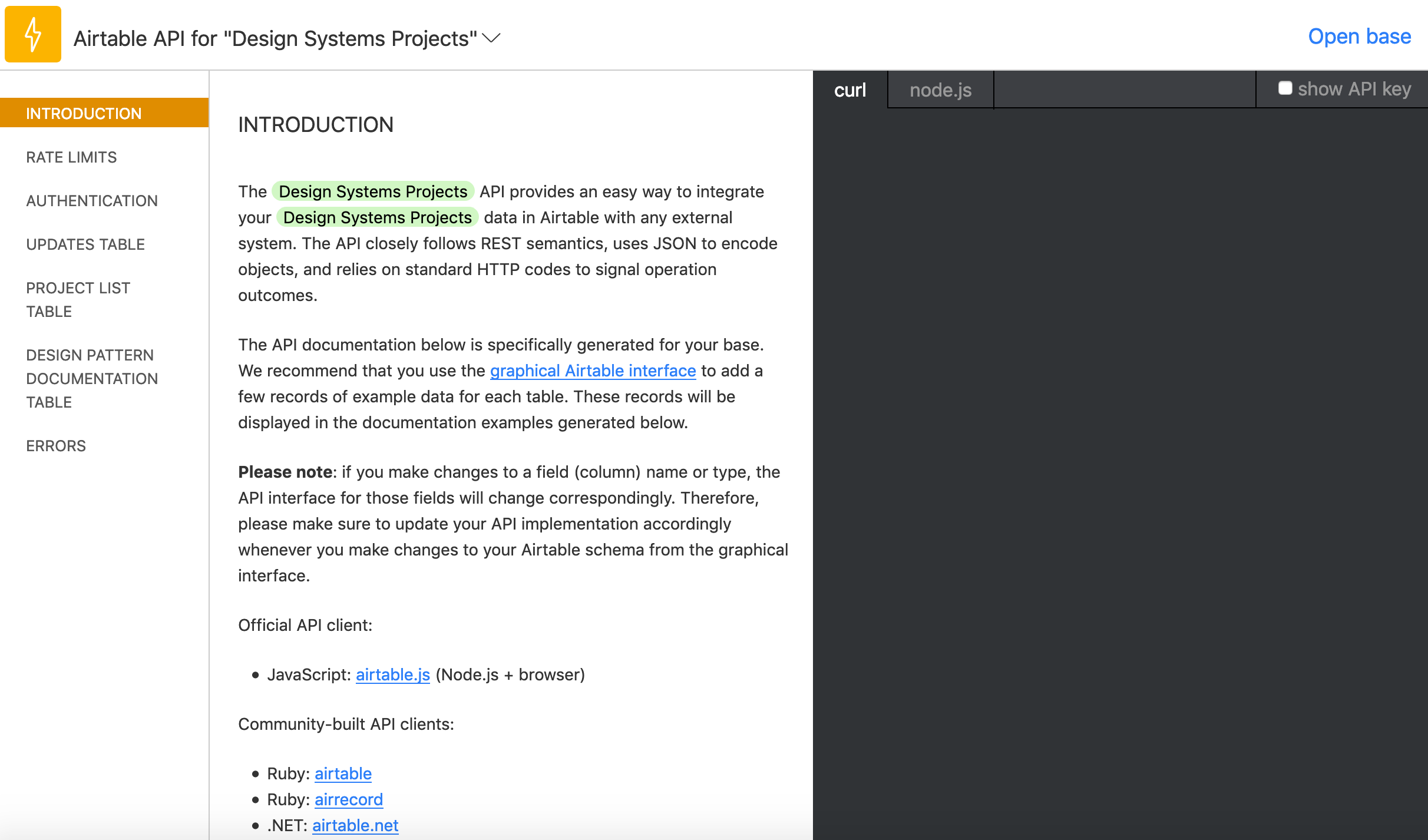 A screenshot of the Airtable API webpage. The heading says Standard API and a list of options, including example projects, is provided. Below the example projects is the project configured in this post, called Design Systems Project.