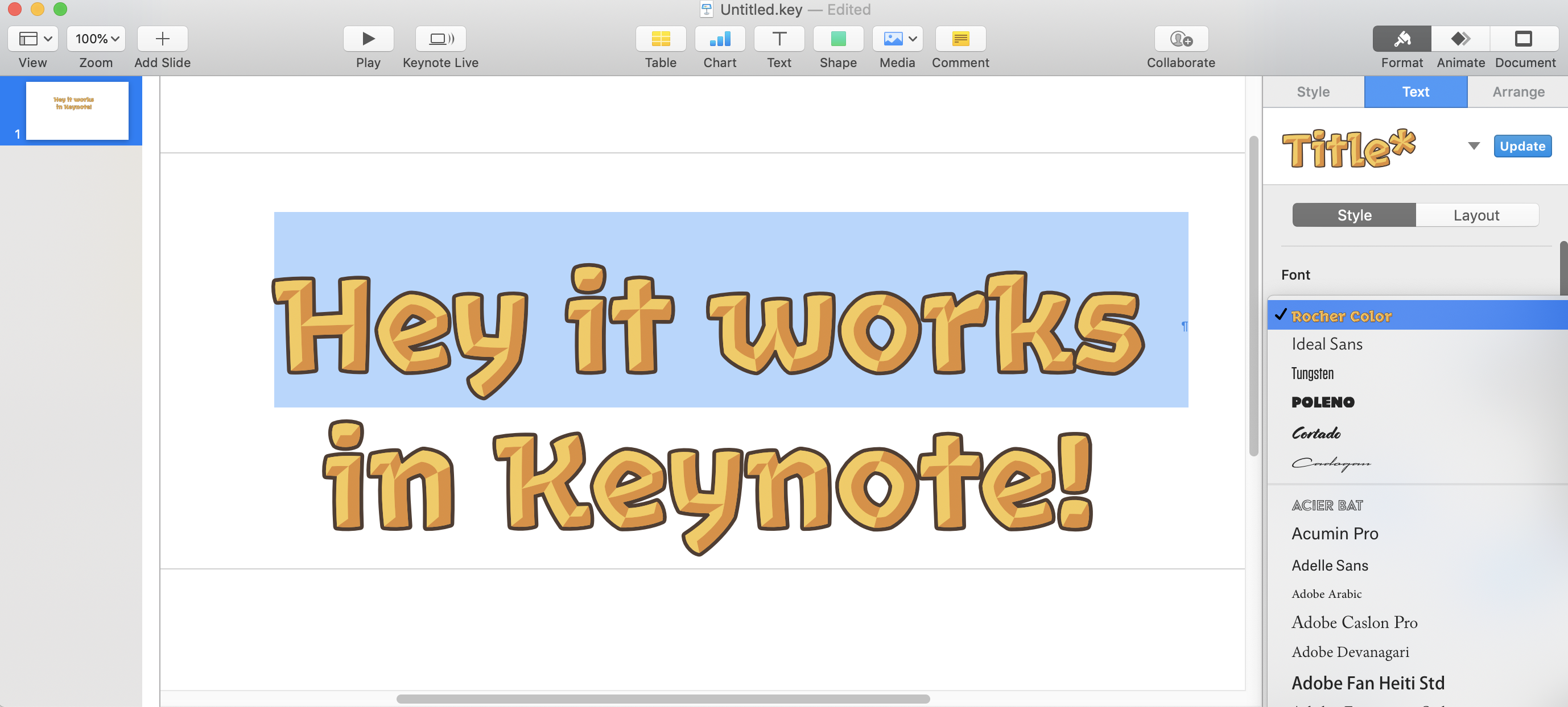The color font works in Keynote