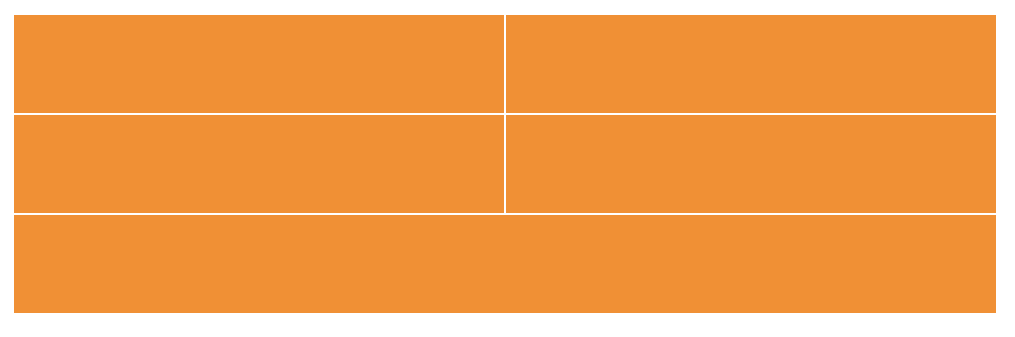 Three rows of orange rectangles. The first two rows have two columns of boxes and the third row has one single box that spans both columns.