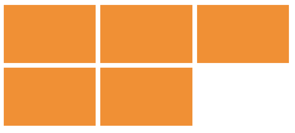 A three-by-three grid of orange rectangles, with the last cell empty.