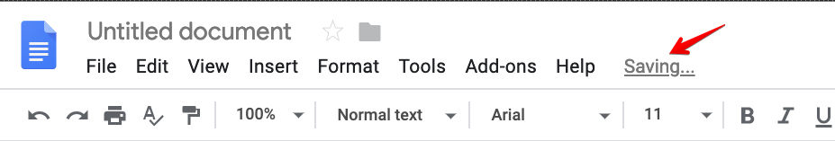 Screenshot of the Google Docs header with a message that says the document is saving.
