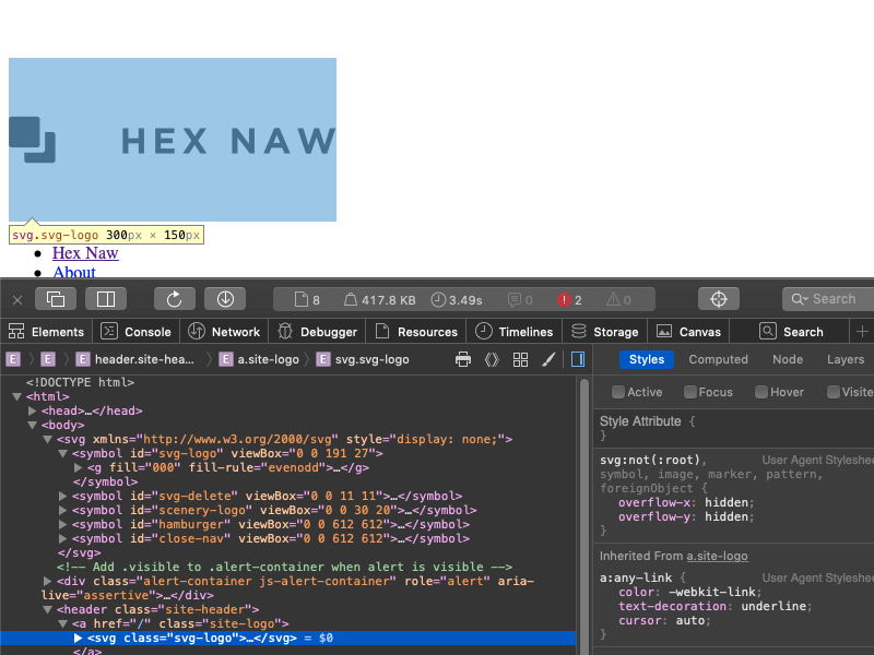 Hex Naw logo colored black and highlighted in DevTools