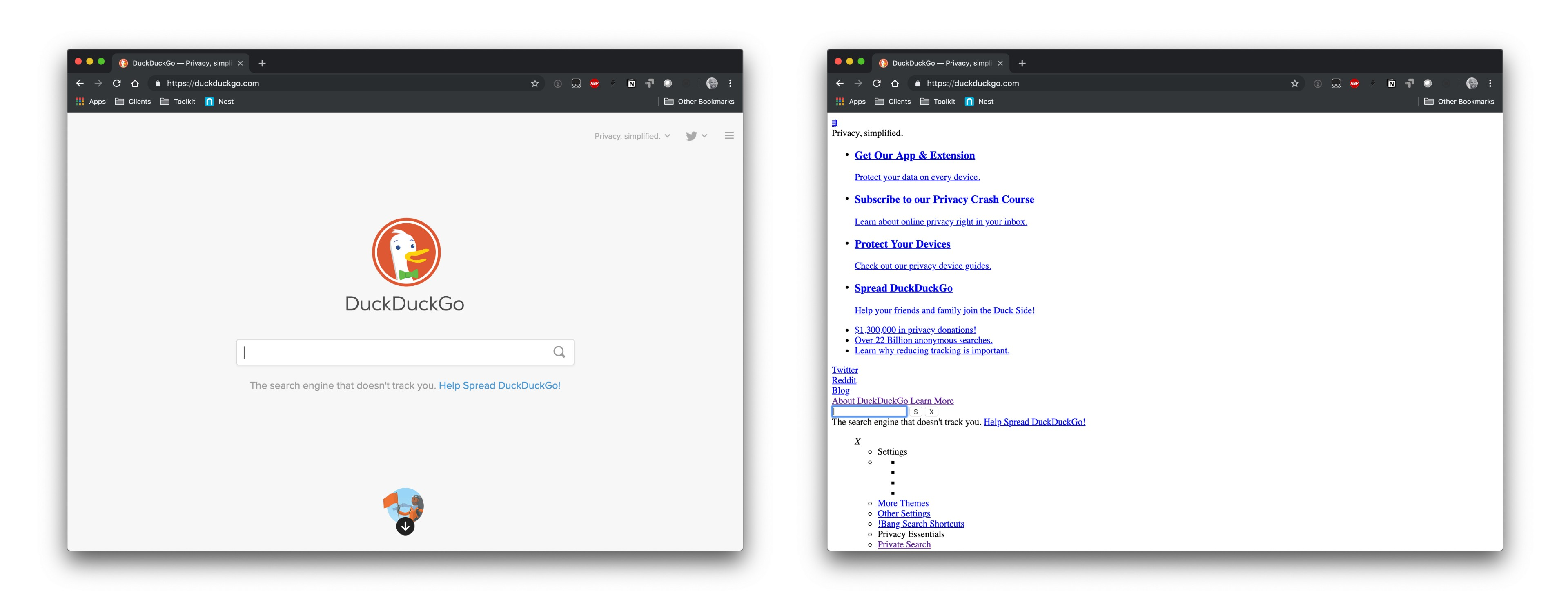 The DuckDuckGo homepage with and without CSS