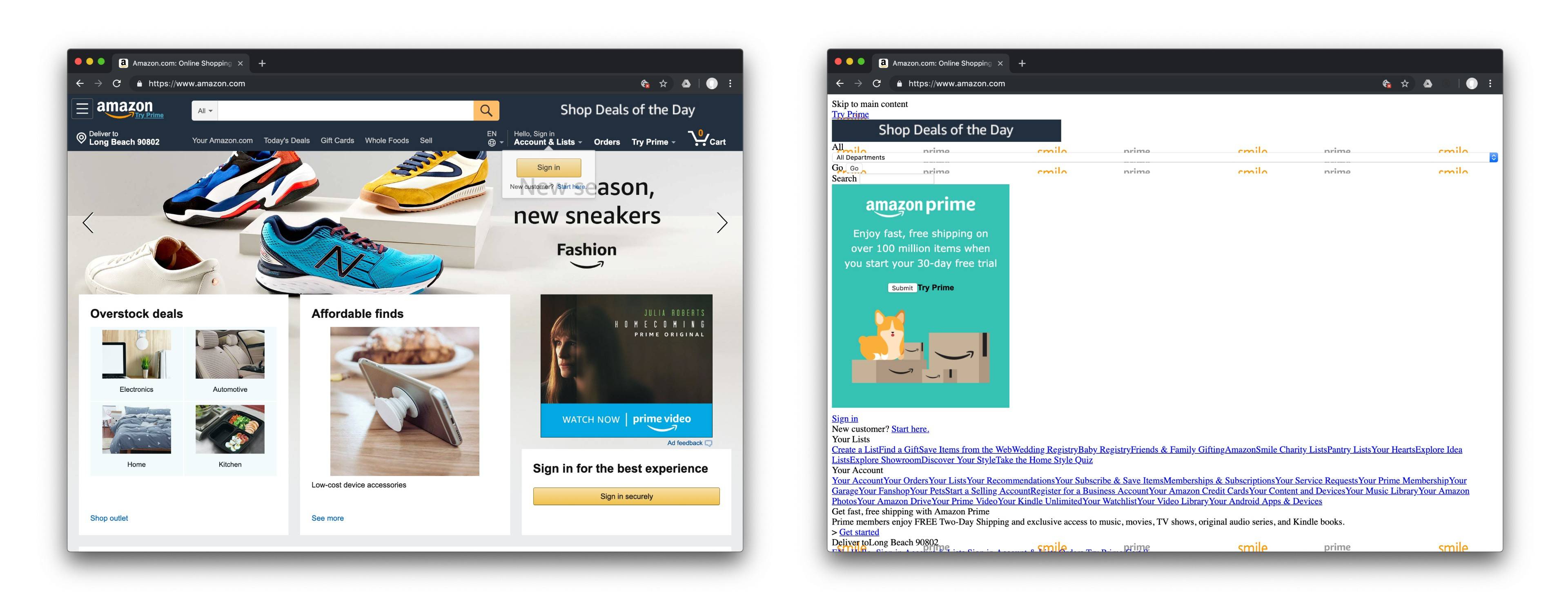 The Amazon.com homepage with and without CSS