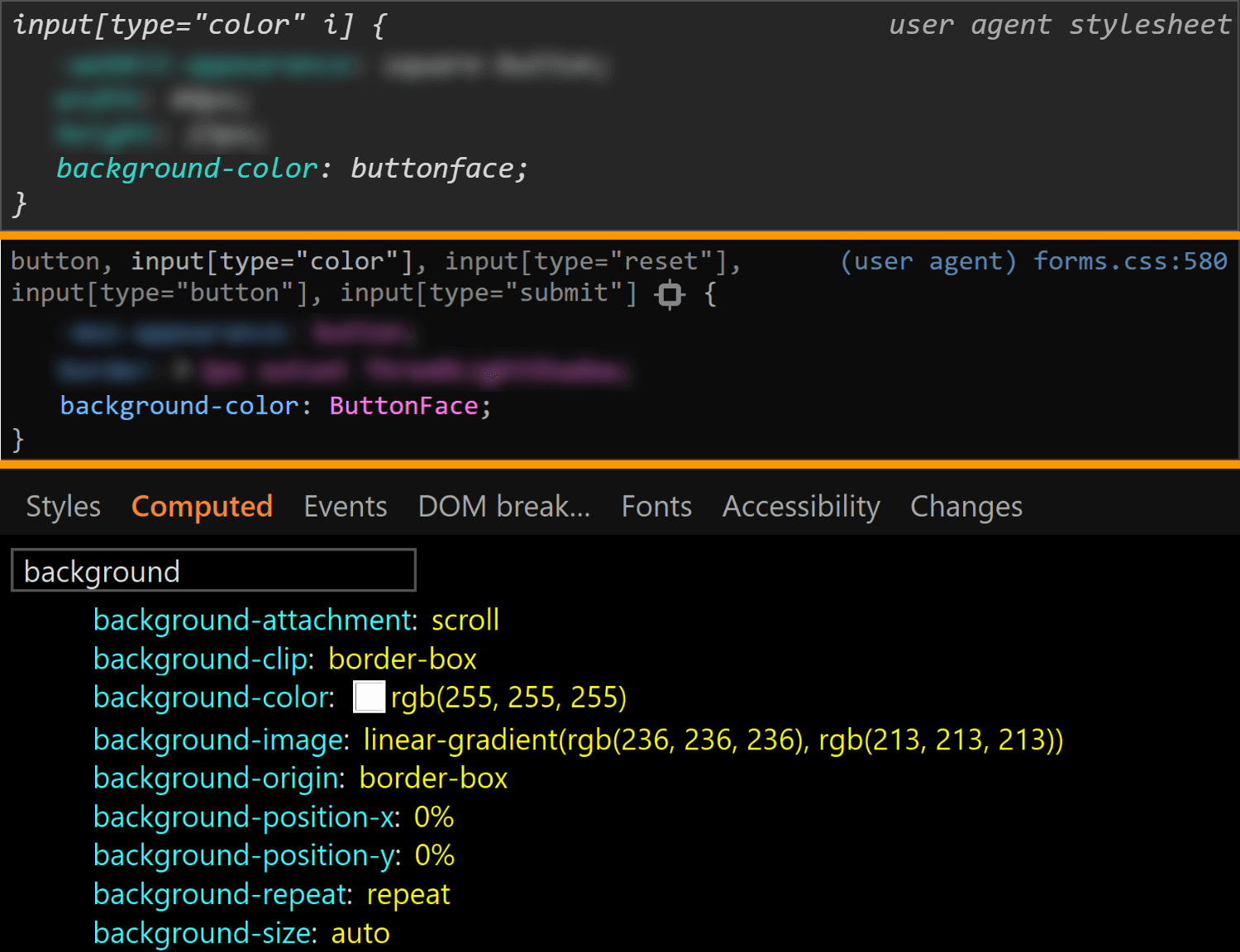 Comparative screenshots of DevTools in the three browsers showing the background values for the actual input.