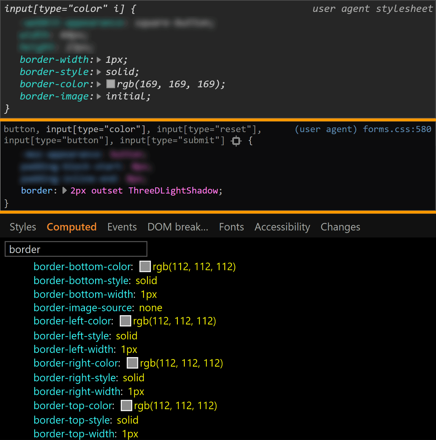 Comparative screenshots of DevTools in the three browsers showing the border values for the actual input.