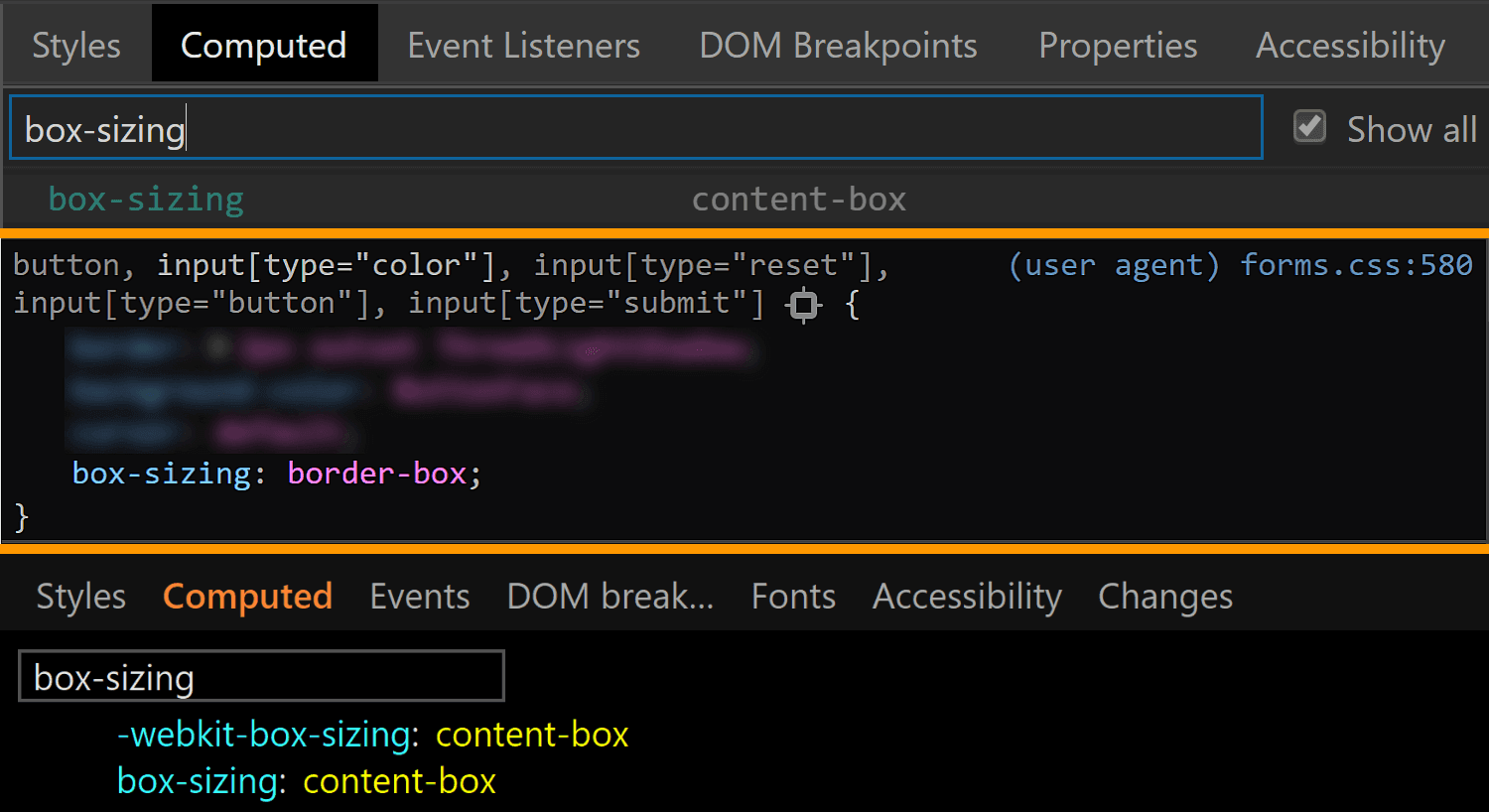 Comparative screenshots of DevTools in the three browsers showing the computed values of box-sizing for the actual input.