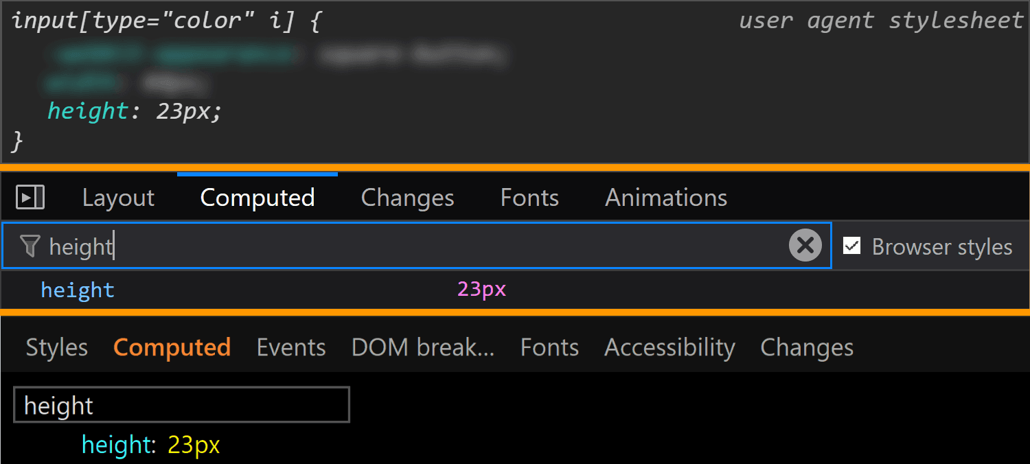 Comparative screenshots of DevTools in the three browsers showing the height values for the actual input.
