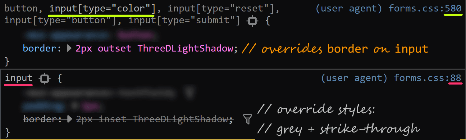 Screenshot of Firefox DevTools highlighting how the border set on input[type='color'] overrides the one set on input and the look (grey + strike-through) of overridden properties.